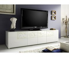 TV Schrank Padua 4-türig, 190 x 48 x 51 cm, weiß hochglanz