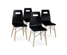Relaxdays Design Stuhl 4-er Set ARVID, Holz, Esszimmer-Stuhl, modern, HxBxT: 92 x 43 x 40 cm, Retro, schwarz