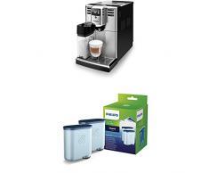 Philips 5000 Serie EP5365/10 Kaffeevollautomat (integrierte Milchkaraffe) Edelstahl Front, mit Doppelpack AquaClean Wasserfilter