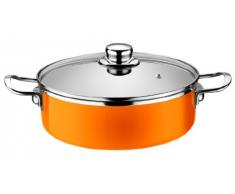 Monix Pinti Edelstahl orange Bratentopf 24 cm Ø 3,67 ltr. Serie Mandarina Induktion