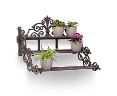 Relaxdays Blumentreppe rechteckig aus Gusseisen HBT ca. 36 x 42 x 31 cm Blumenbank für Blumen und Topfpflanzen auf Terrasse und Hof massives Regal mit 3 Ebenen im rustikalen Landhausstil, Bronze