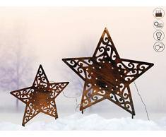 ABC Home Garden Solarleuchte Solarstecker Sterne Lichtsensor EIN- & Ausschalter solarbetrieben 2er Set, rostfarben