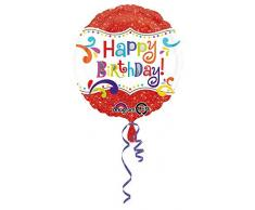 amscan Glitzer Happy Birthday Folienballon Folie Mehrfarbig