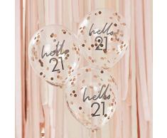 Ginger Ray Mix It Up Rose Gold Konfetti gefüllt Hello 21 Ballons Party