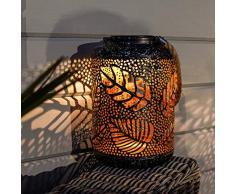 solarbetriebene wetterfeste Outdoor Metall Leuchten - marokkanischer Antik-Stil – inkl. Akku, Solarpaneel, Dämmerungsschalter, von Festive Lights (zylindrische Laterne bronzefarben)