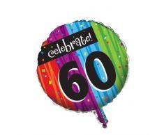Creative Converting Partydekoration, rund, metallisch, zum 60. Geburtstag