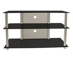 VCM TV Rack Lowboard Konsole LCD LED Fernsehtisch Möbel Bank Glastisch Tisch Schrank Aluminium Schwarzglas Onata XXL