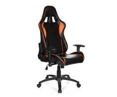 hjh OFFICE 729160 SPIELBERG III Chefsessel Racingchair, Lederimitat, schwarz / orange
