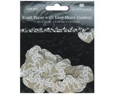 Weddingstar Papier mit Spitze Herz Konfetti, braun