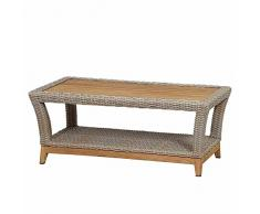 Siena Garden Lounge Tisch Almada, 60x110x45cm, Gestell: Aluminium, pulverbeschichtet, Fläche: Gardino-Geflecht in oak grey,Tischplatte: Teakholz, FSC 100%