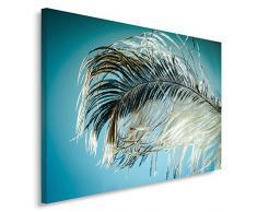 Feeby, Wandbild - 1 Teilig - 60x80 cm, Leinwand Bild Leinwandbilder Bilder Wandbilder Kunstdruck, FEDER, BLAU, WEIß