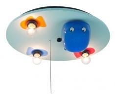 Niermann Standby Deckenleuchte Wal mit LED-Farbwechler und Sternenprojektor, hellblau 613