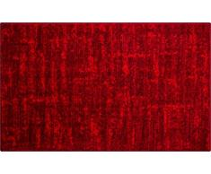 Linea Due Badteppich 100% Polyacryl, ultra soft, rutschfest, ÖKO-TEX-zertifiziert, 5 Jahre Garantie, SAVIO, Badematte 60x100 cm, rubin