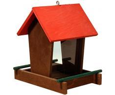 dobar 91108FSCe Futterspender Vogelhaus aus Holz für Wildvögel, 16 x 20 x 21 cm, rot/braun/grün