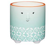 Kitchen Craft Decorative Floral Face Design Kleiner Blumentopf für den Innenbereich, Grün/Weiß, 10 x 11 cm