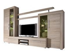 trendteam Wohnzimmer Anbauwand Wohnwand Boom, 308 x 210 x 50 cm in Eiche Sägerau Hell Dekor mit LED Beleuchtung in Warm Weiß und brünierten Glas