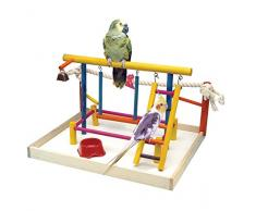 Penn-Plax Vogel Spielzeug Activity Center mit Sitzstangen, Leitern, Glocke, und Seil groß 47 cm Höhe