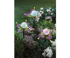 ABC Home Garden Solarleuchte Solarstecker Schmetterlinge Farbwechsel Lichtsensor EIN-& Ausschalter 3er Set, Mehrfarbig
