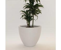 Pflanzkübel Blumenkübel Blumentopf Fiberglas rund konisch D50xH44cm perlmutt weiß