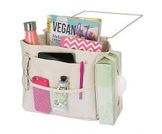 mDesign Wren Betttasche zum Einhängen – geräumiger Nachttisch Organizer aus Baumwolle – mit 3 Taschen – praktische Hängeaufbewahrung für Wasserflasche, Fernbedienung, Armbanduhr & Co. – beige