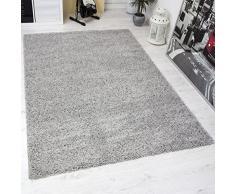 VIMODA prime1000 Shaggy Hoch-/Langflor Teppich, Modern für Wohn-/Schlafzimmer, Polypropylen, grau, 70 x 250 cm