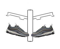 mDesign Schuhablage – modernes Wand Schuhregal für zwei Paar Sneaker, Sportschuhe etc. – platzsparende Alternative zum Schuhschrank – grau