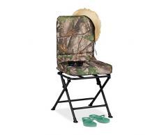 Relaxdays Campingstuhl 360° drehbar, gepolsterter Drehstuhl für Camping, Angeln & Garten, klappbar, bis 100 kg, grün