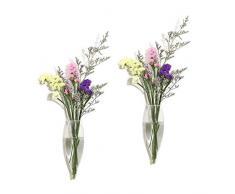 Ivolador Wandmontierter Blumentopf Reagenzglas Blumenvase Tischplatte Glas Terrariumin Holzständer ideal für Hydrokulturpflanzen Icepick Shape farblos