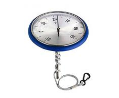 TFA Dostmann Analoges Schwimmbadthermometer, geeignet für Schwimmbad und Teich, rostfrei, bequemes Ablesen, blau