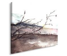 Feeby, Leinwandbild, Bilder, Wand Bild, Wandbilder, Kunstdruck 70x100cm, LANDSCHAFT, AQUARELL, WEIß, BRAUN, ROSA