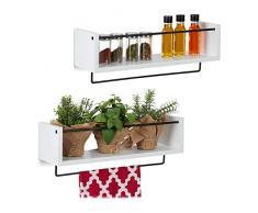 Relaxdays Wandregal Küche im 2er Set, mit Hängeleiste für S-Haken, Handtuch, Regale für die Wand HBT 17,5x51x15 cm, weiß