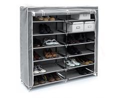 Relaxdays Schuhschrank VALENTIN breit HxBxT: 108,5 x 114 x 30,5cm Schuhregal mit 7 Ablagen für 36 Paar Schuhe aus Vlies mit Stoffbezug Stoffregal für staubfreie Lagerung dank Reißverschluss, anthrazit