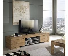 TV Schrank Milano 2-türig und 1 Holzboden, 190 x 45 x 51 cm, Eiche Cleaf Honig Nachbildung