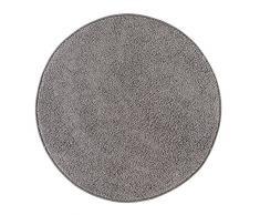 misento 292193 Hochflorteppich Shaggy, 133 cm rund, grau / braun