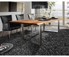 SAM® Stilvoller Esszimmertisch Ida aus Akazie-Holz, Baumkantentisch mit lackierten Beinen aus Roheisen, naturbelassene Optik mit einer Baumkanten-Tischplatte, 180 x 90 cm