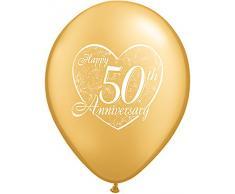La Luftballons 94.449,9 cm Happy 50th Anniversary HerzQualatex Latex Luftballons (50 Pack), 27,9 cm Gold