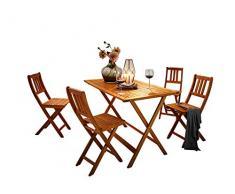 SAM 5 TLG. Gartengruppe Costas Tischgruppe bestehend aus 1 Tisch + 4 Klappstühle, Akazie-Holz massiv & geölt, FSC 100% Zertifiziert