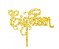 qttier 18 Birthday Cake Topper 18. Anniversary Party Dekoration Premium Qualität Acryl goldfarben