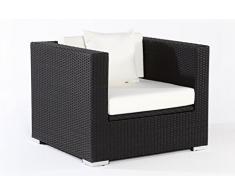 Outflexx Sessel, inklusive Polster und Kissen, Kissenbox funktion, Polyrattan, Schwarz, 145 x 85 x 70 cm