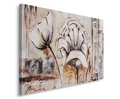Feeby, Wandbild - 1 Teilig - 60x80 cm, Leinwand Bild Leinwandbilder Bilder Wandbilder Kunstdruck, BLUMEN, VINTAGE, MALEREI, KUNST, BRAUN