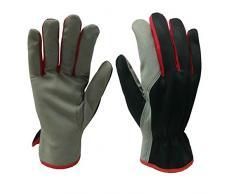 Xclou Universal-Arbeitshandschuhe in Schwarz/Grau/Rot, Nylon-Handschuhe XL / Größe 10, Gartenhandschuhe gewebt, Schutzhandschuhe mit Stulpe für die Arbeit im Garten, im Haushalt & Hobby