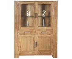SIT-Möbel Zeus 1602-01 Highboard mit 2 Holztüren & 2 Glastüren, geöltes Wildeichenholz, Metallbeschläge, 115 x 149 x 44 cm