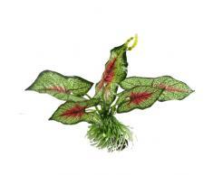 sourcingmap Kunstpflanze für Aquarien, Stoff, 17 cm, Grün/Rot
