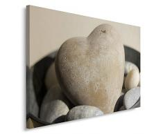 Feeby, Wandbild - 1 Teilig - 80x120 cm, Leinwand Bild Leinwandbilder Bilder Wandbilder Kunstdruck, HERZ, ZEN, GRAU