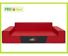 HobbyDog XLGLACZE3 Hundebett/Sofa / Korb Glamour Kunstleder, Kodura, rot, XL, 100 x 68 x 28 cm