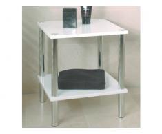 Haku-Möbel 90338 Beistelltisch 39 x 39 x 47 cm, chrom/weiß