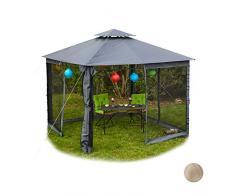 Relaxdays Deluxe Pavillon 3x3, Gartenpavillon, Seitenwände mit Reißverschluß, Moskitonetz, wasserabweisendes Dach, grau
