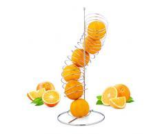 Relaxdays Obsthalter Spirale Metall, Korb für Orangen und Äpfel, Platz für 7 Stück, HxBxT: 48 x 21 x 21 cm, silber