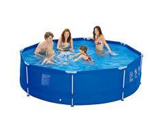 Jilong runder Family Pool Ø 300 x 76 cm Stahlrahmen Schwimmbad Garten Schwimmbad Familienpool