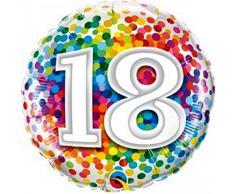 Qualatex Folienballon 49502 Rainbow Konfetti, 45,7 cm farbenreiche